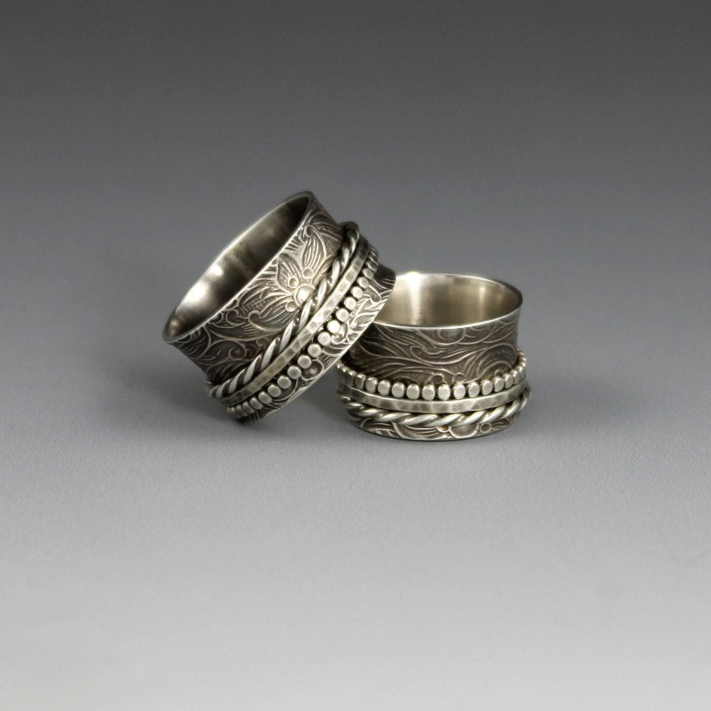 items similar to sterling silver spinner ring textured