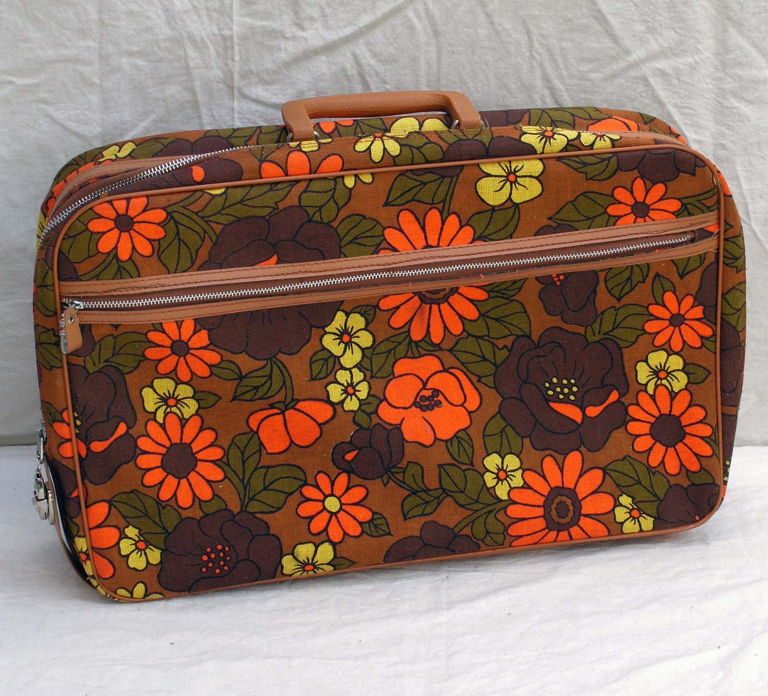 Flower Power Overnight Suitcase Orange Avocado Yellow Brown Lined Canvas Luggage Weekender 1960s