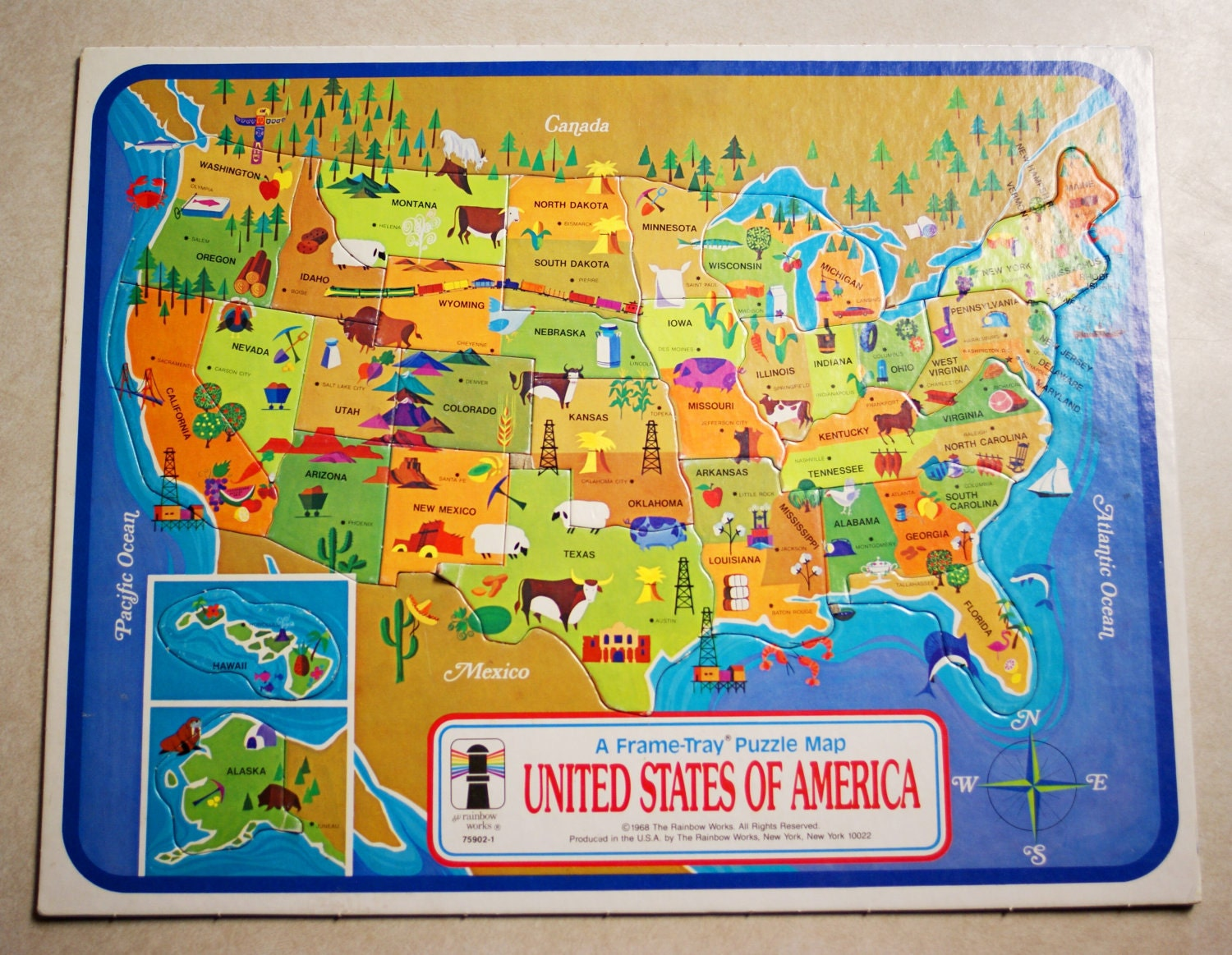 Vintage 1968 United States Of America Map Puzzle