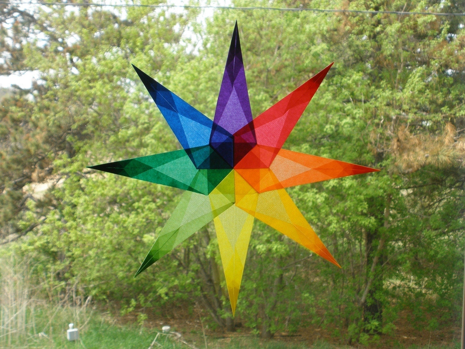 Pointed Waldorf Rainbow Window Star Multi-Color Kaleidoscope Intricate Stained Glass Effect Birthday Wedding Blessingway Anniversary Baby Shower Gift Color Wheel Inspiring Waldorf Montessori Homeschool Art Education Etsymom SHE Team UWIB FFEST