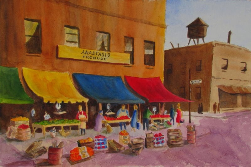 South Philly Italian Market Original Painting 15x22 Philadelphia, PA