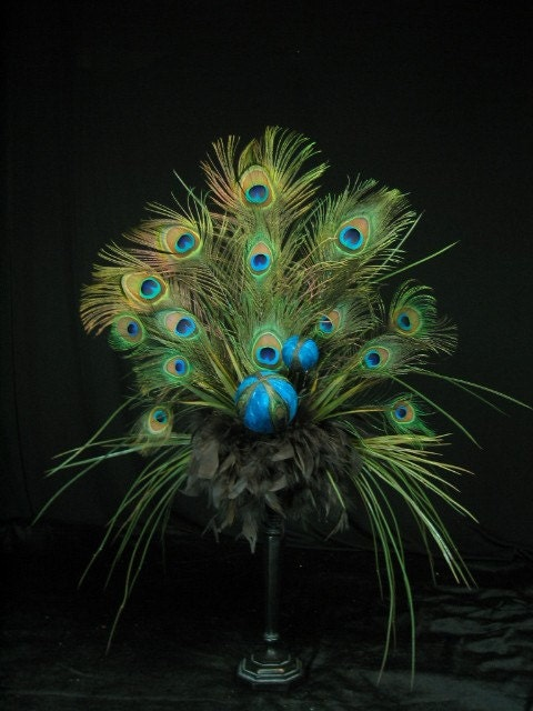 Peacock Feather Ball Floral Arrangement By Tapestryoflife