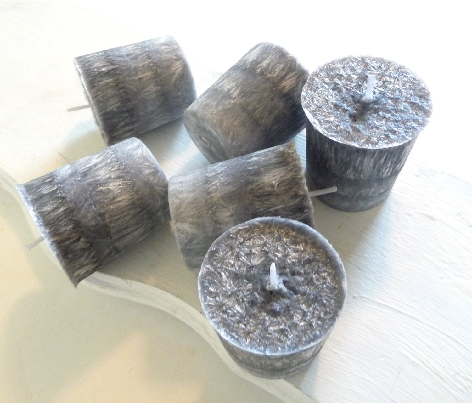 6 Madagascar Spice Palm Wax Votive Candles, Black and Gray Candles - Mylana