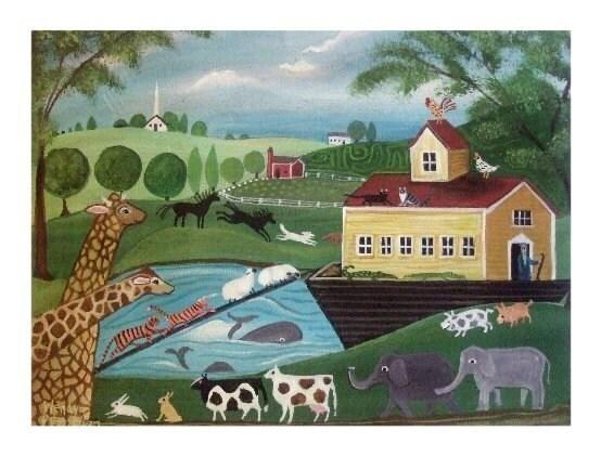 NOAHS ARK Primitive FOLK ART PRINT Animals Landscape NURSERY ART Wendy Presseisen CHILDRENS BIBLE STORY After the FLood