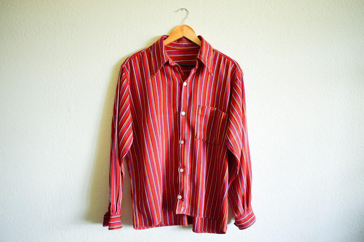 Vintage Shirt Red Woven Shirt Large Womens Red Stripe Shirt Large Boho Stripe Shirt Festival Clothing