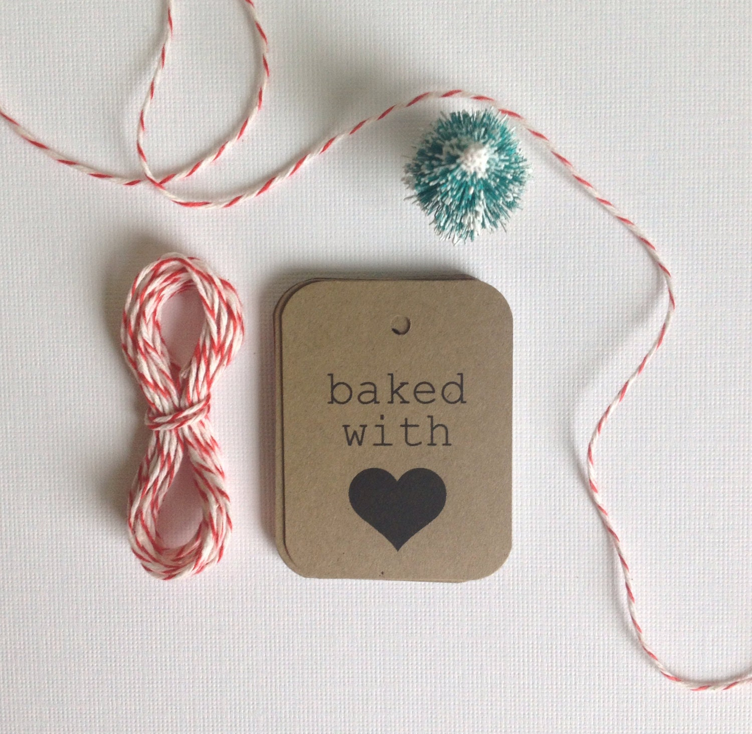 Baked with love tags- gift tags - heart tags - packaging supplies -