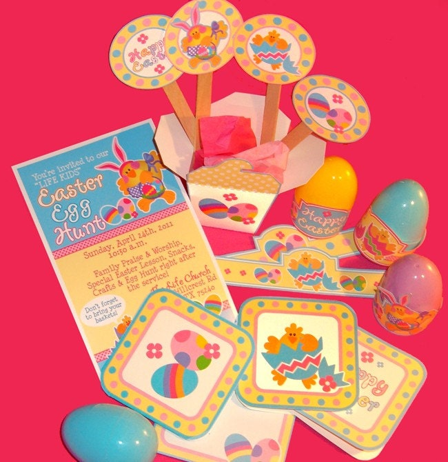 Chicky Easter uPrint Set of Circles Mini Cards with by HoneyBops