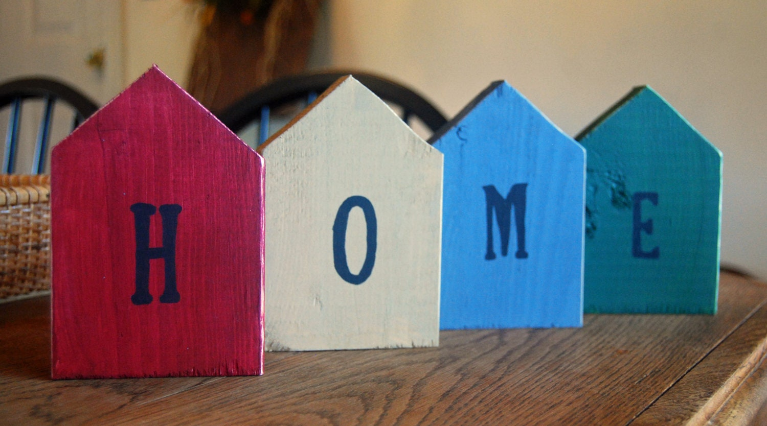 Rustic Handmade Wooden HOME Letters