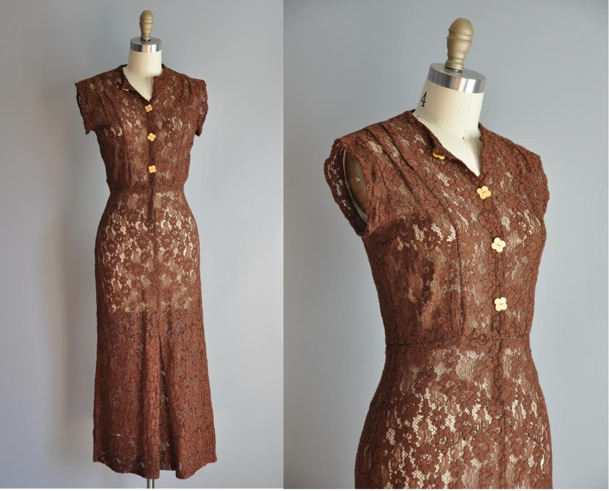 vintage 1930s Mother Of Daisy brown lace bias cut dress