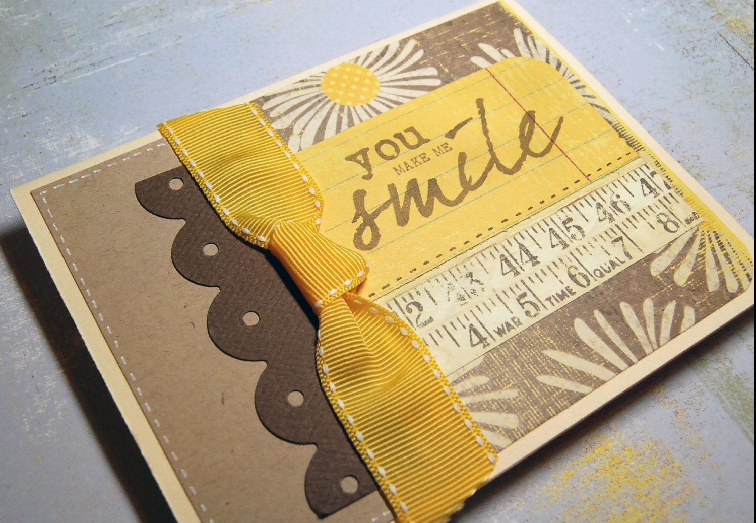 All Occasion Smile Card - Yellow and Brown Lace Ribbon Daisy handmade by RightBrainy