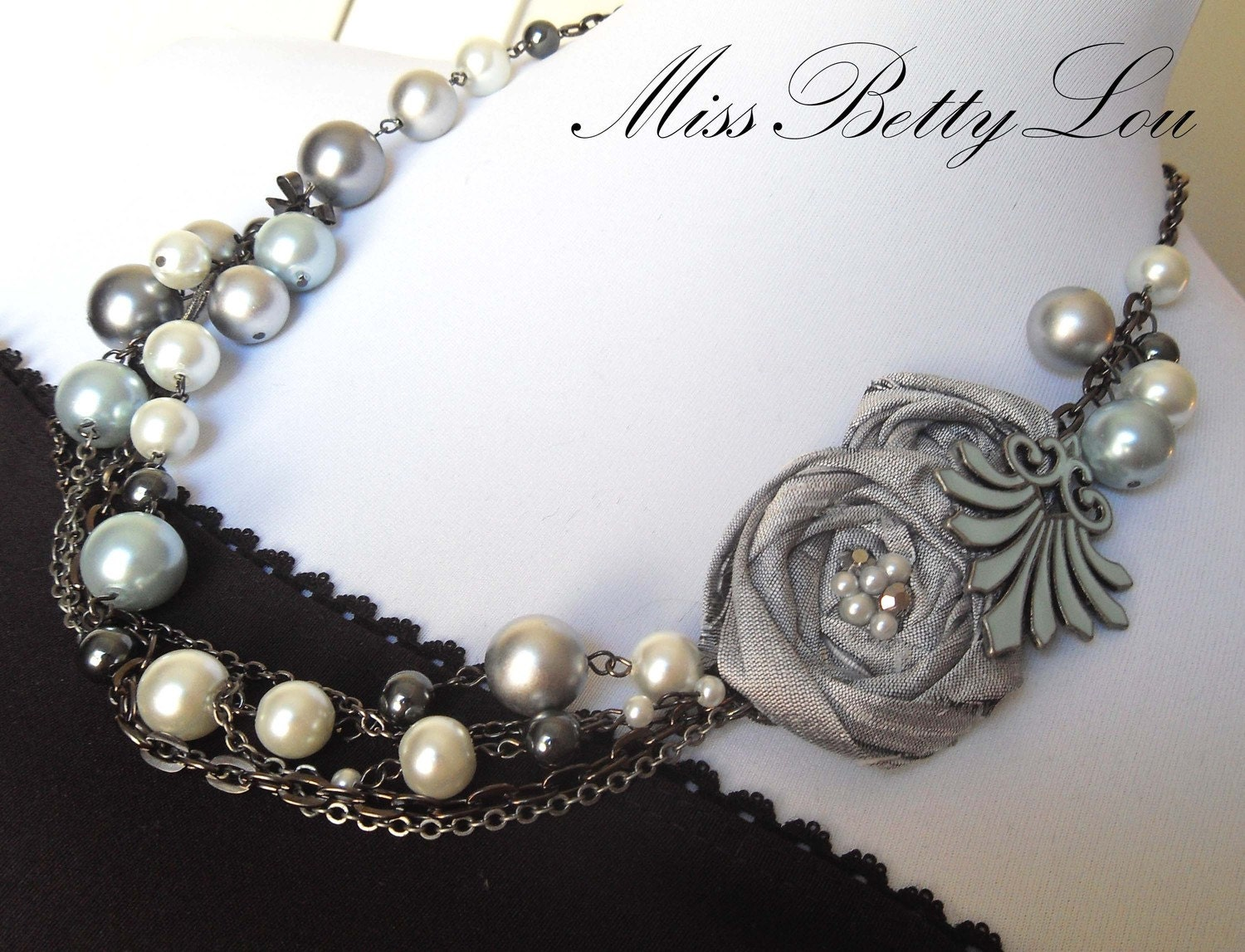 Gray, Blue, Gunmetal and Pearl Statement Necklace