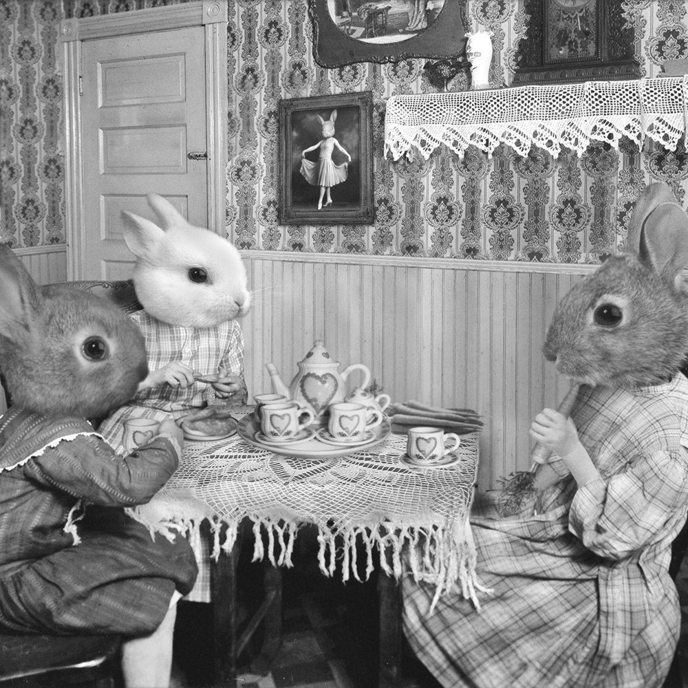 5x7 Bunny Tea Party - Photographic Art Print