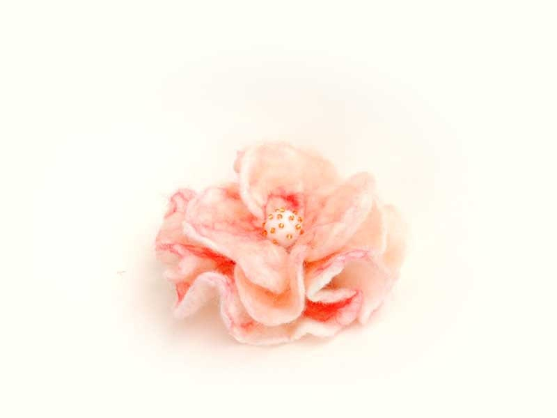 Felted pin  flower peony white with baby pink salmon coral