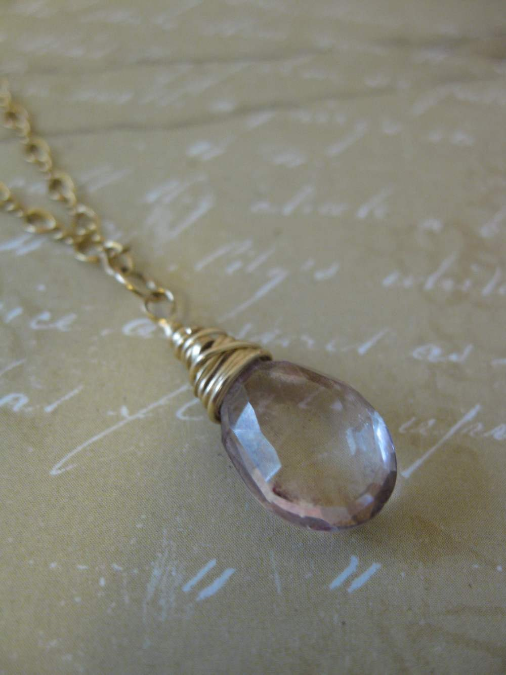 Pink Quartz Pendant Necklace on Gold Filled Chain - Wire Wrapped