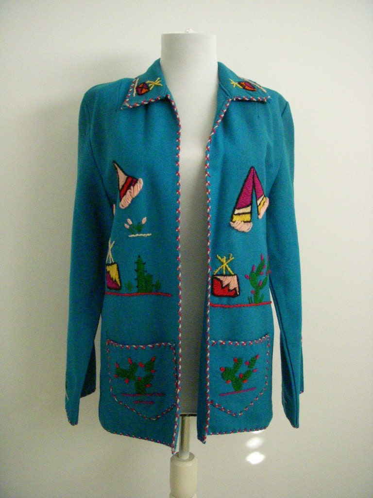 Vintage Mexican Embroidered Wool Jacket Size By Omagainvintage