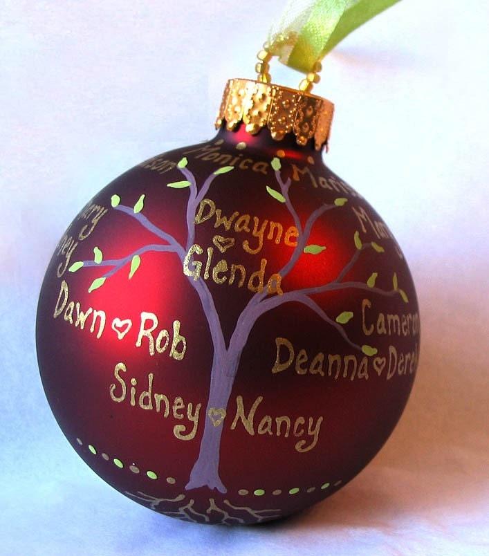 Custom Орнамент дерево семьи - Ручная роспись и персонализированной
