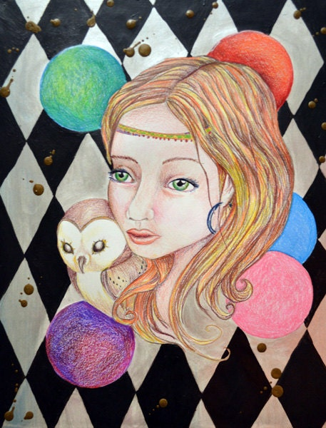 Athena of Ashbury bohemian abstract portrait painting with owl