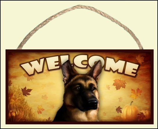 "German Shepherd Fall / Autumn Season 10"" x 5"" Wooden Welcome Sign"