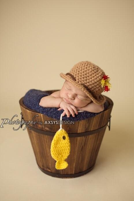 Items similar to crochet fisherman set fishing hat fish for Baby fishing hat
