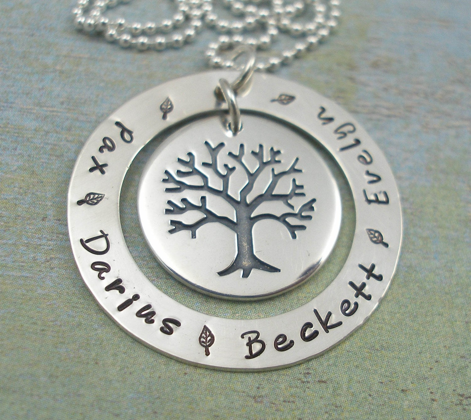 FAMILY TREE...... Hand Stamped Sterling Silver Washer Necklace with Tree Charm