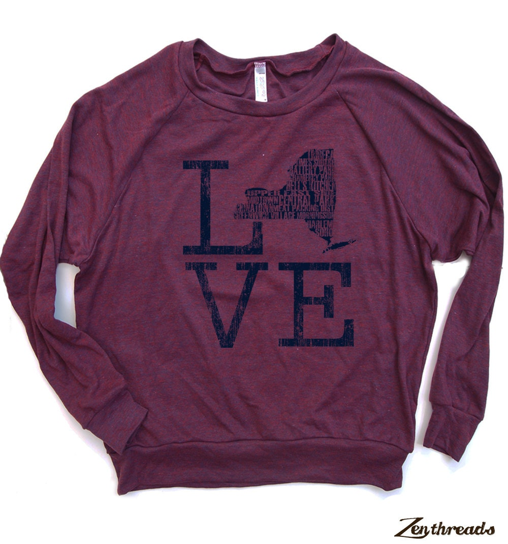 Womens NEW YORK Love Tri-Blend Pullover - american apparel S M L (5 Color Options)