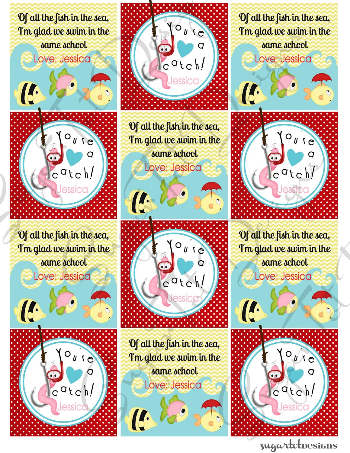 You're a Catch Valentine's Day Card Of All the by SugarTotDesigns