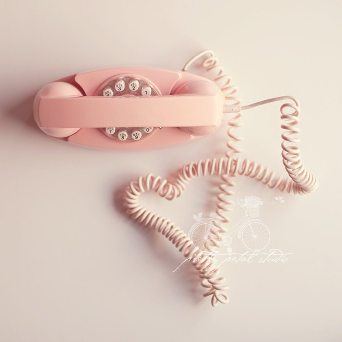Still Life Photography, Phone, Pale Pink Vintage Telephone, Girlie, Call Me, Heart Shape, Pastel, Talk, Gossip, Pop Art, Square 5x5 Print - PrettyPetalStudio
