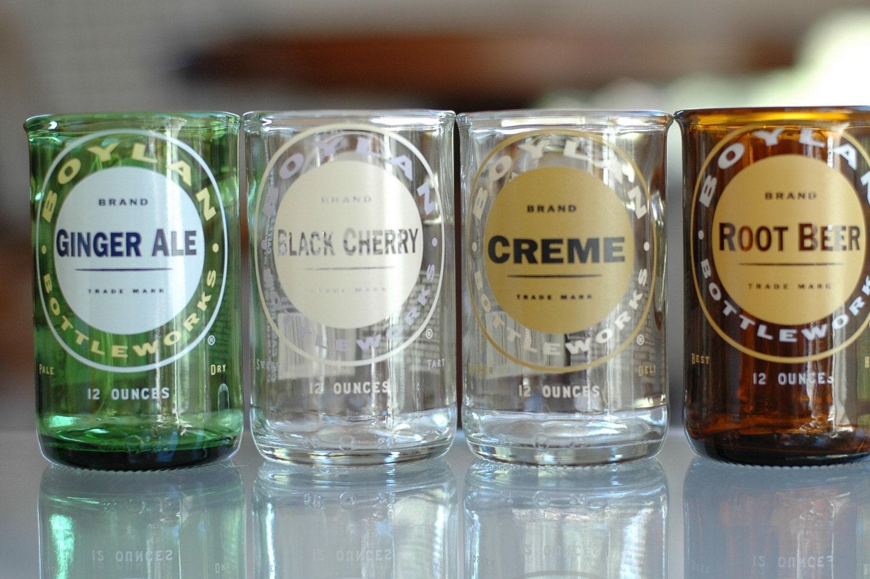 YAVA Glass -  Recycled Boylan's Soda Bottle Glasses (Variety Set of 4)