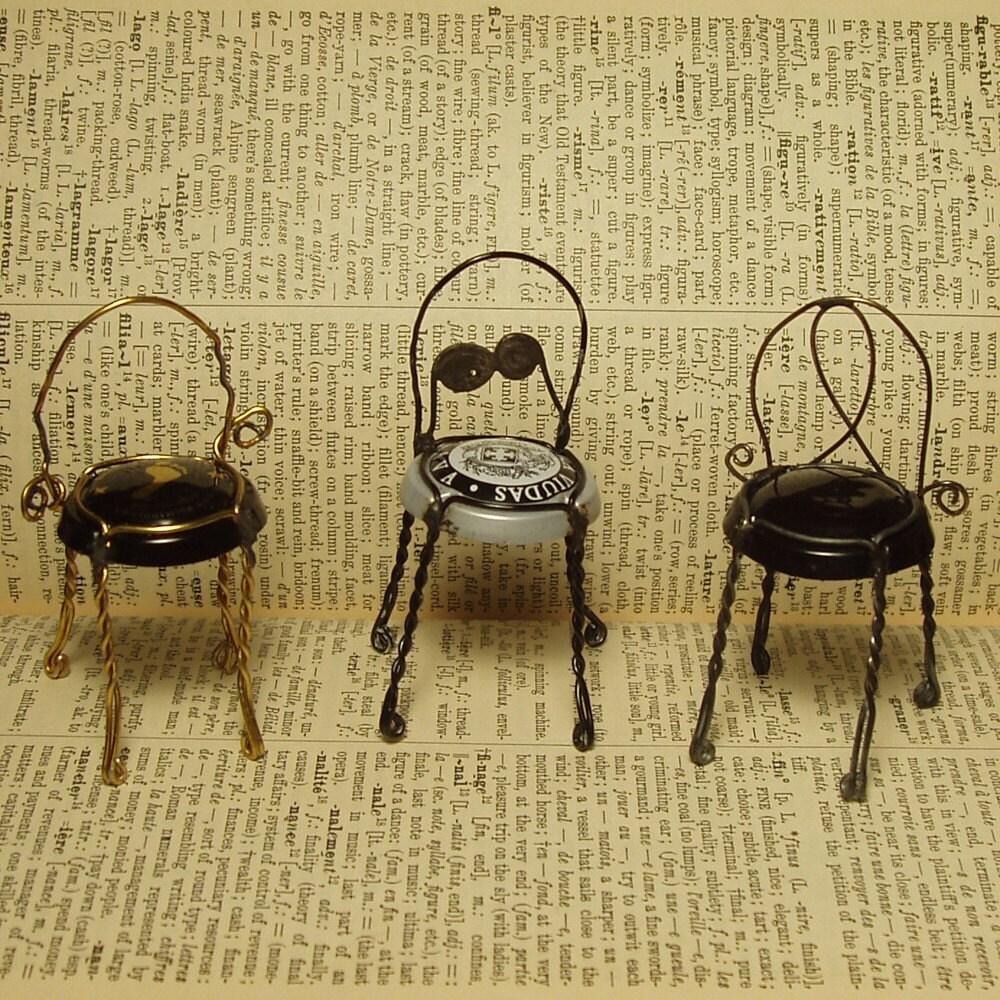 Petite Champagne Wire Bistro Chair Trio