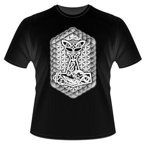 Viking Norse Pagan Thors Hammer Mjolnir Tattoo Design Tshirt AT003TM