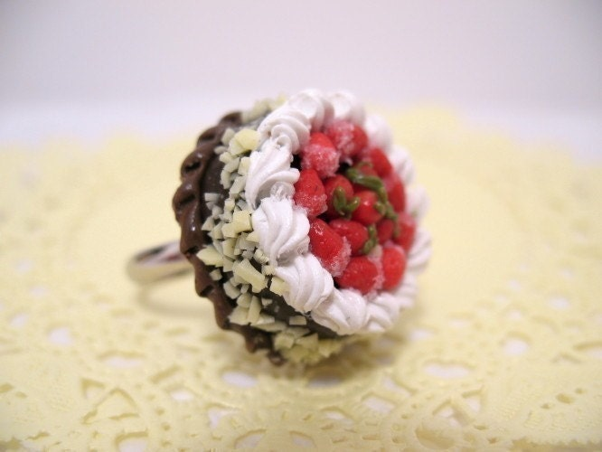 Black Forest Cake Adjustable Ring Nickel Free by CuteAbility from etsy.com