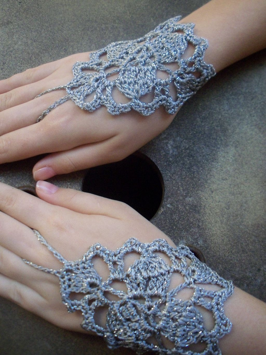 Gray silver lace fingerless PLEASE SPECIFY THE COLOR YOU WANT