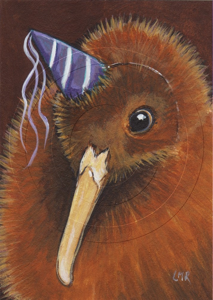 Original ACEO acrylic painting - KIWI in a Party Hat - BIRD ART
