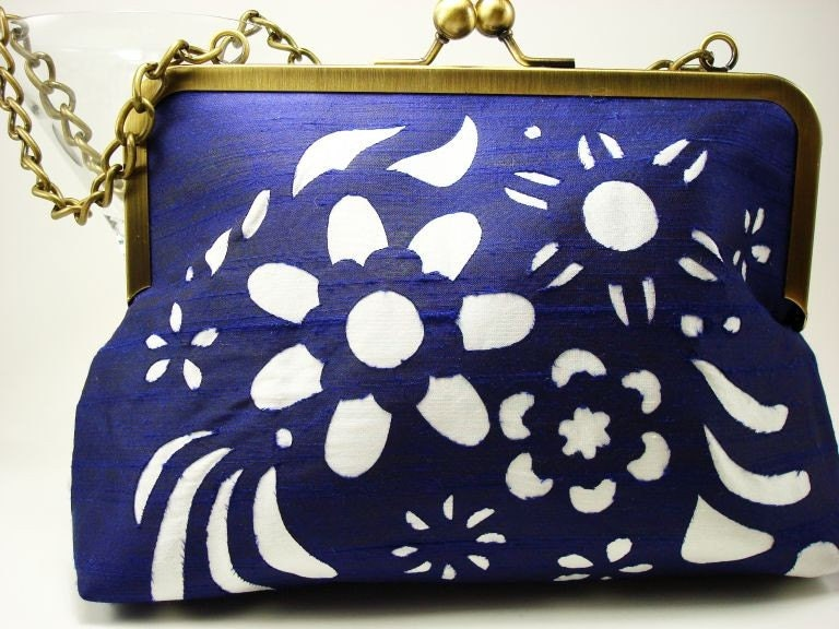 Royal Purple and Ivory Silk Purse - Pocket Full of Posies