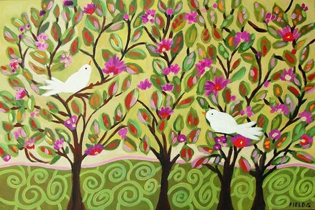 Beautiful Simple Decorative Trees Birds Modern Original Art Painting by Karen Fields Large 36 x 24 Wall Home Decor