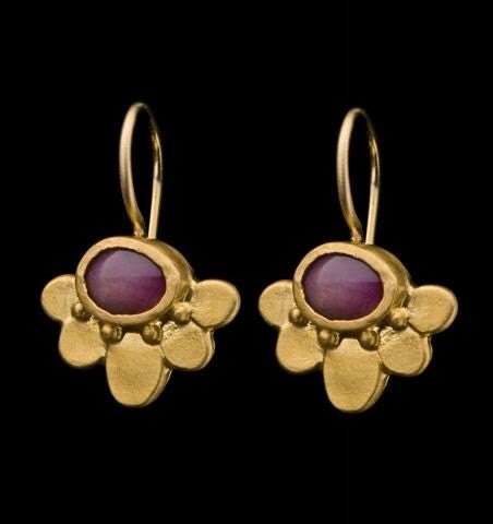 Vintage Solid 22k Gold Ruby Gemstone Necklace Earring: Spring 22k Solid Gold Lotus Earrings Ruby Star By