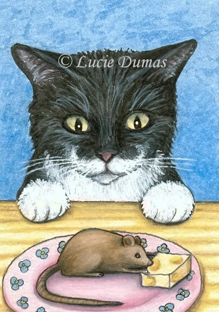 ACEO art print Cat 285  Tuxedo mouse fantasy by Lucie Dumas