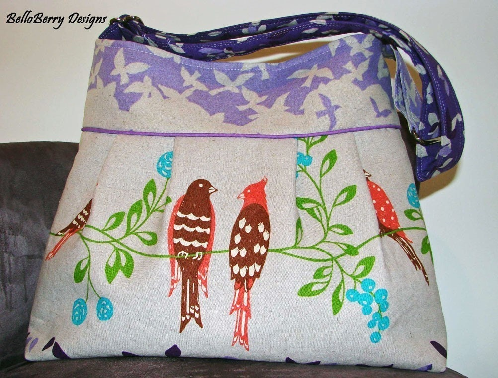 Birdsong in Purple Japanese Print - Medium Pleated Bag with Adjustable Strap and Magnetic Closure