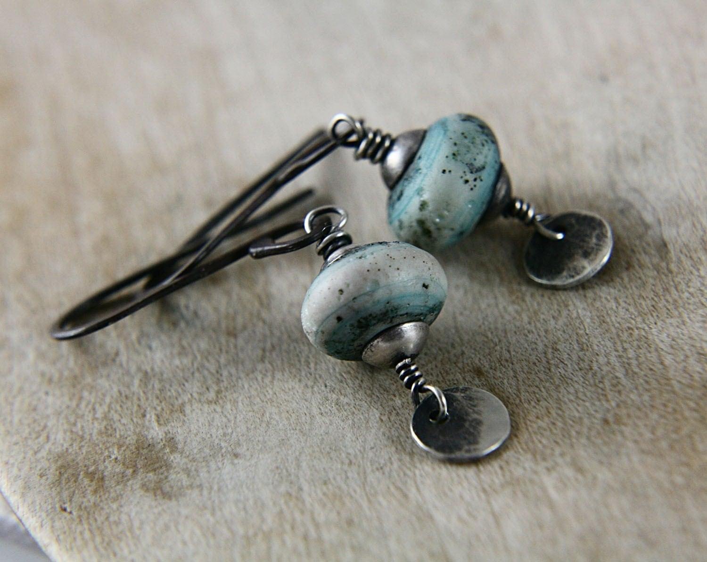 SALE 20% Off Spring Break Earthly Endeavor Earrings Handmade Lampwork Beads Sterling Silver