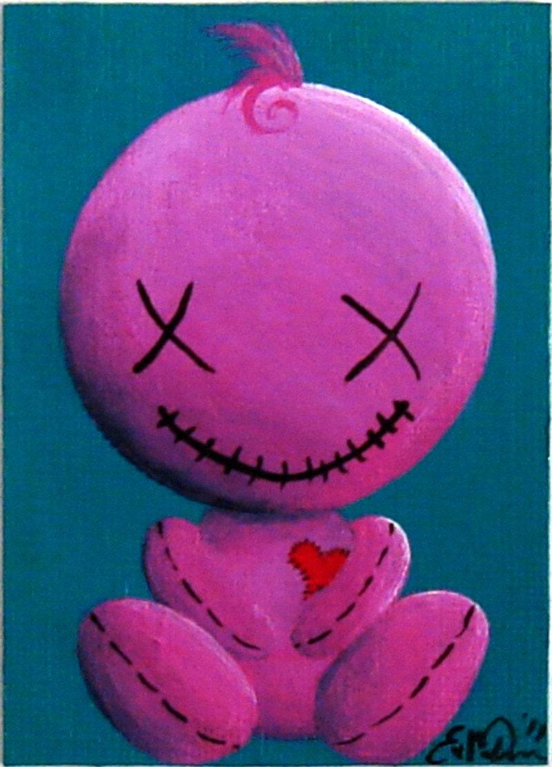 Original Art Card  'Mr. Agreeable' OOAK ACEO Happy Voodoo Doll