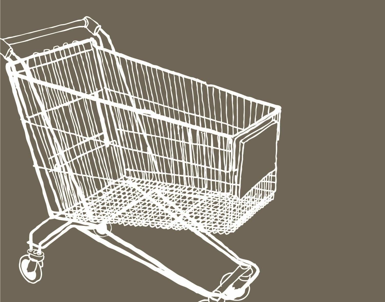 shopping cart silkscreen print