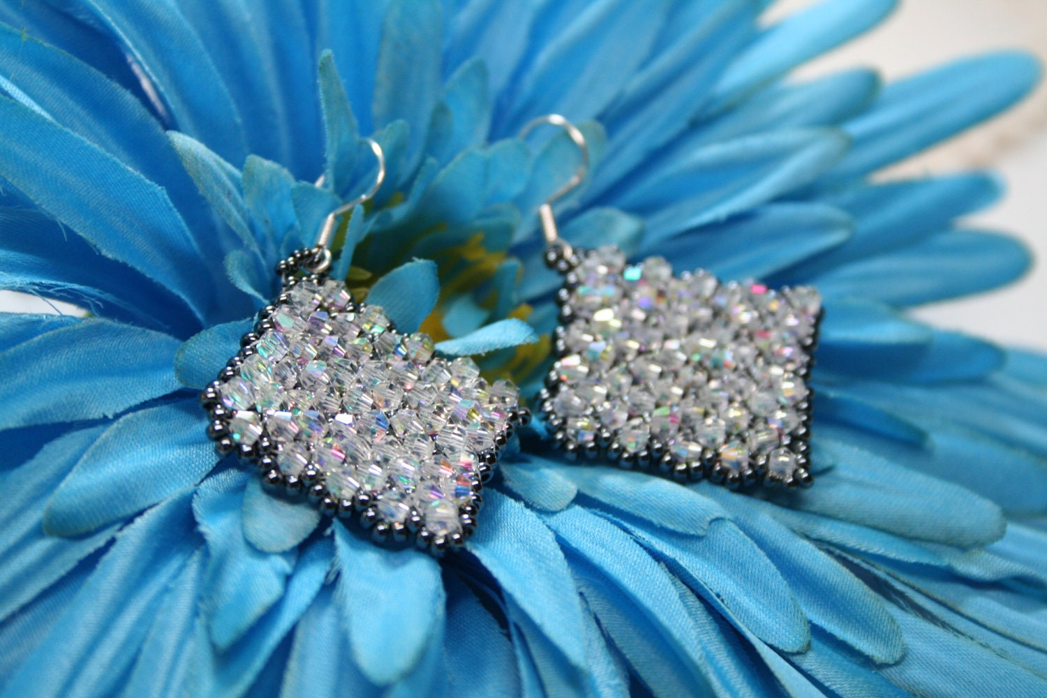 Lace Diamonds Quilted Squares Beaded Earrings
