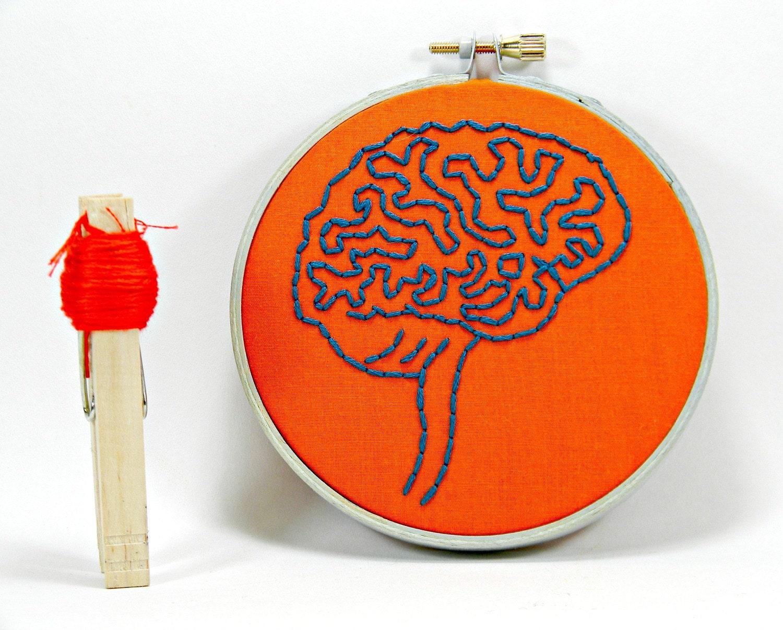 Orange and Blue Brain Anatomy Mini Hoop Art. Hand Embroidered.