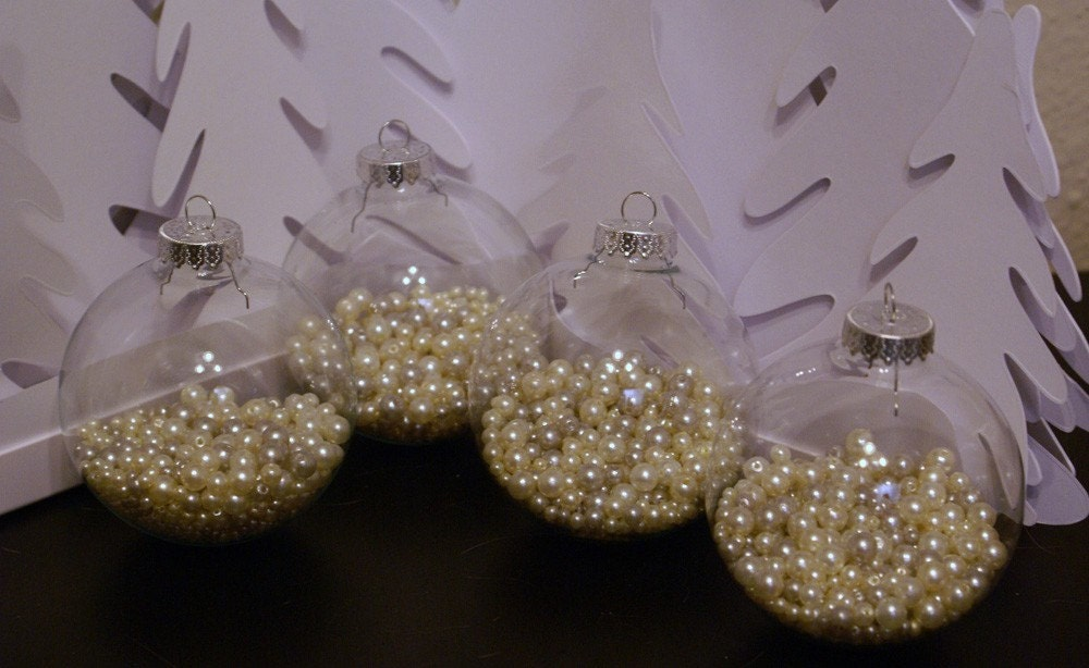 Set of 4 Large Glass Ornaments - Pearl