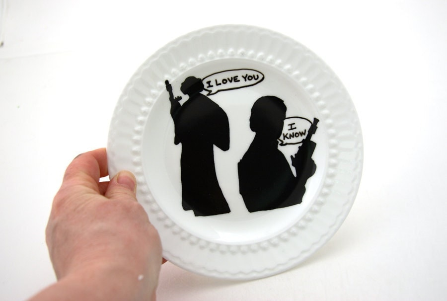 wars r han princess leia inspired ring plate by