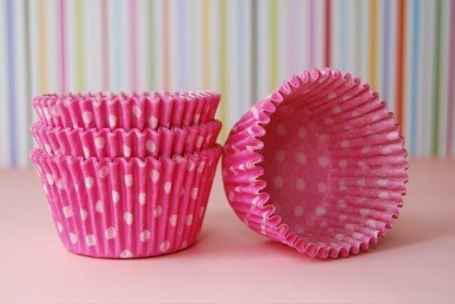 Pink and White Polka Dot Cupcake Liners (75)