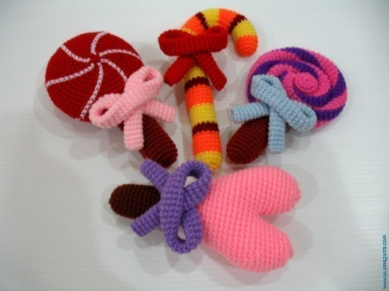 Crochet Pattern- LOLLIPOPS- toys/food