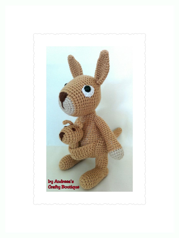 Crochet Mama Kangaroo and Baby Joey Soft Stuffed Amigurumi Toys Australian Kangaroo Toy  approx 8in21cm long and 10in25cm tall