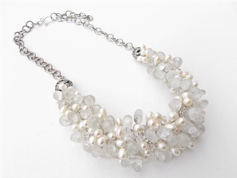 white pearl and glass bib necklace SALE - tumbledstrands