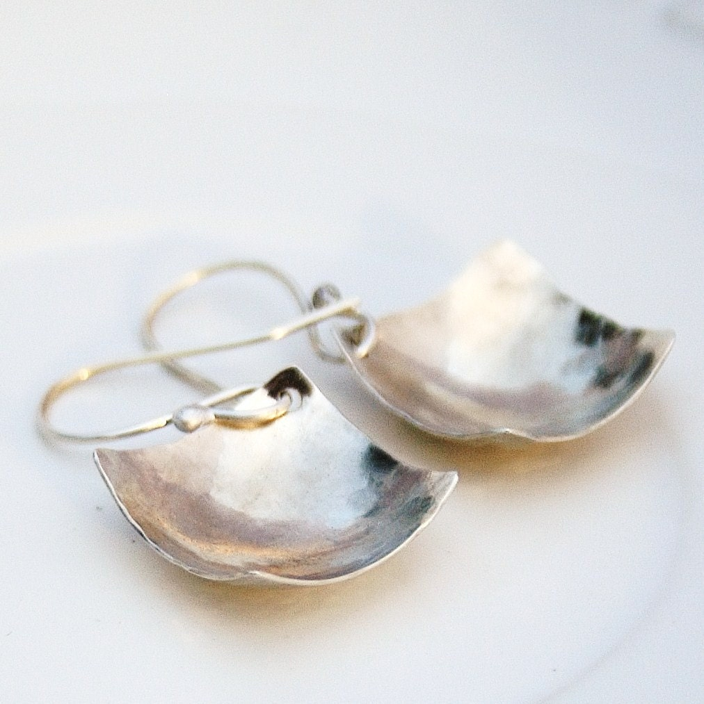 Handmade Sterling silver square earrings - BlueberryCream, серьги, сережки